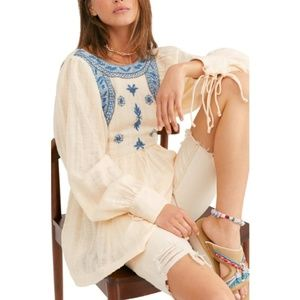 Free People Bali Birdie Embroidered boho top new